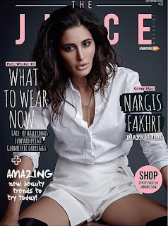 Nargis Fakhri on Cover Page of The Juice September 2016 spicy shorts