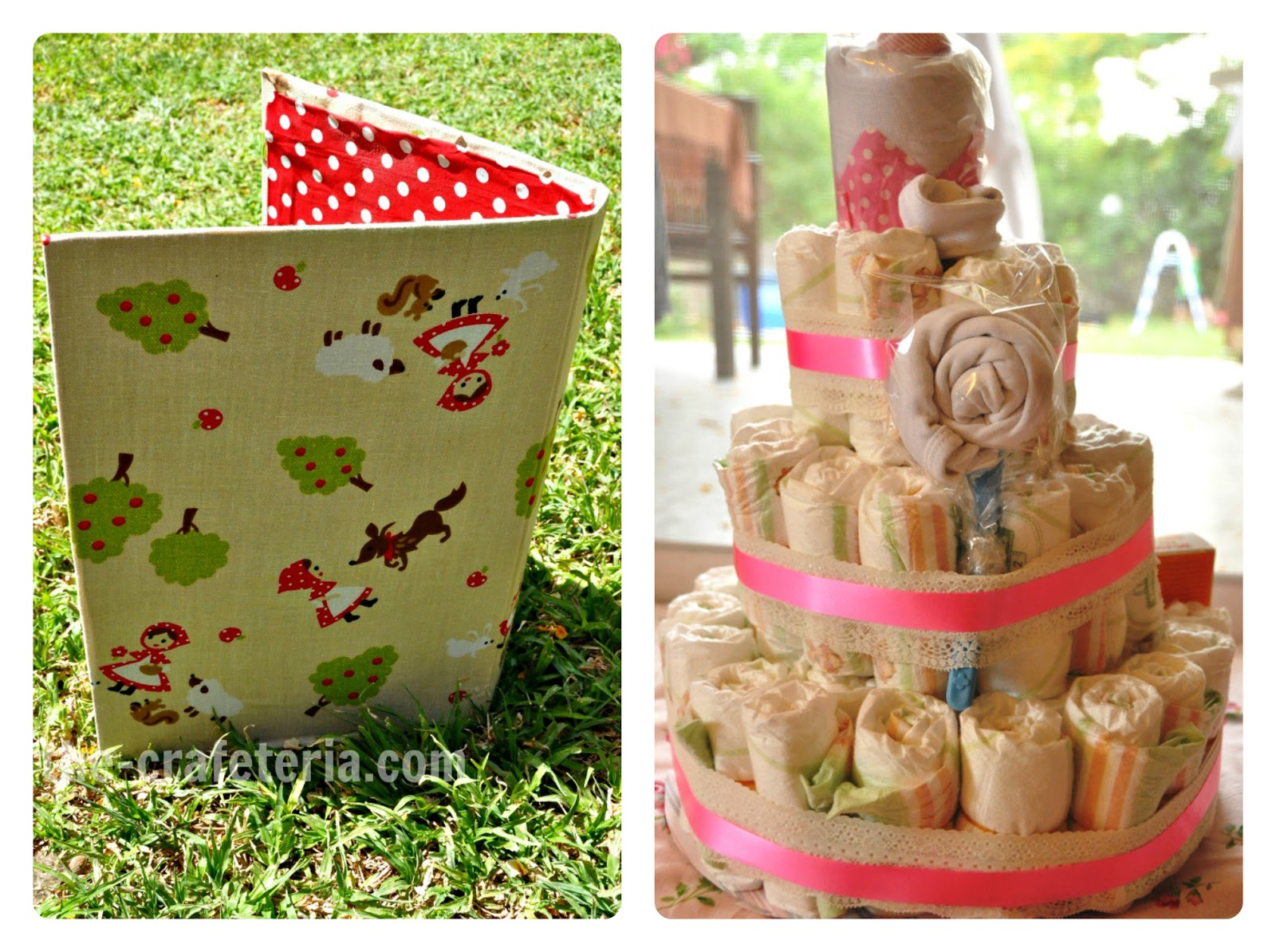 Fabric Covered Binder and Diaper Cake