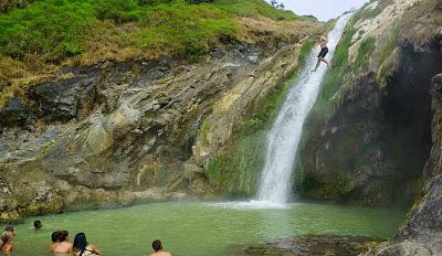 Bath at hot spring side Lake Segara Anak of Mount Rinjani