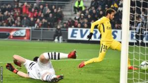 Firmin Mubele got one back but Edinson Cavani fired in from a through ball by Neymar, who then poked in a fourth.     Both sides had a player sent off with Benjamin Andre receiving a second yellow card in the second half for the hosts while PSG centre-back Presnel Kimpembe was dismissed for a foul inside the box late on.     Midfielder Wahbi Khazri, on loan from Sunderland, then fired over the bar from the penalty.     PSG are nine points clear of Monaco at the top of the table with 47 points from 18 games.  Rennes, meanwhile, remain sixth on 25 points.