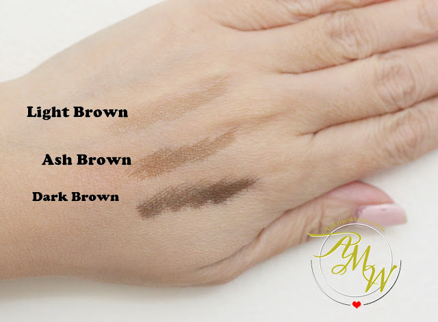 a swatch photo of Cathy Doll RealBrow 4D Tattoo Tint review in shades Light Brown, Ash Brown and Dark Brown.