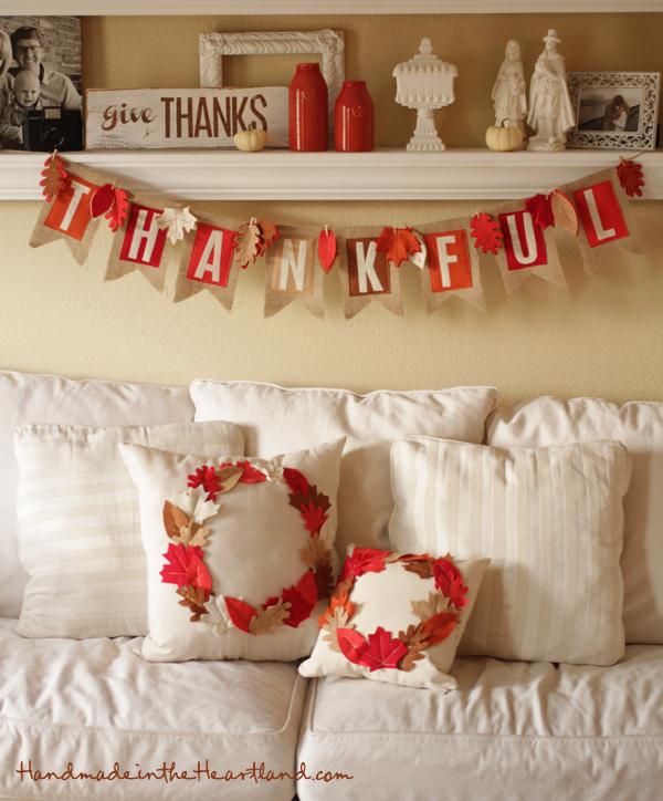 DIY Thanksgiving Banner, Pillows & Sign
