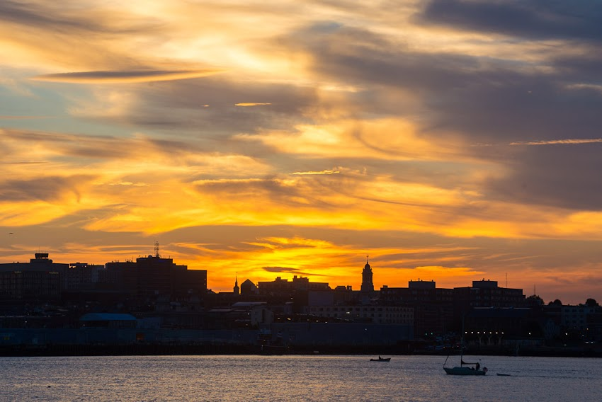 Portland, Maine USA Photo by Corey Templeton of a pretty rad sunset from South Portland. August 2014.