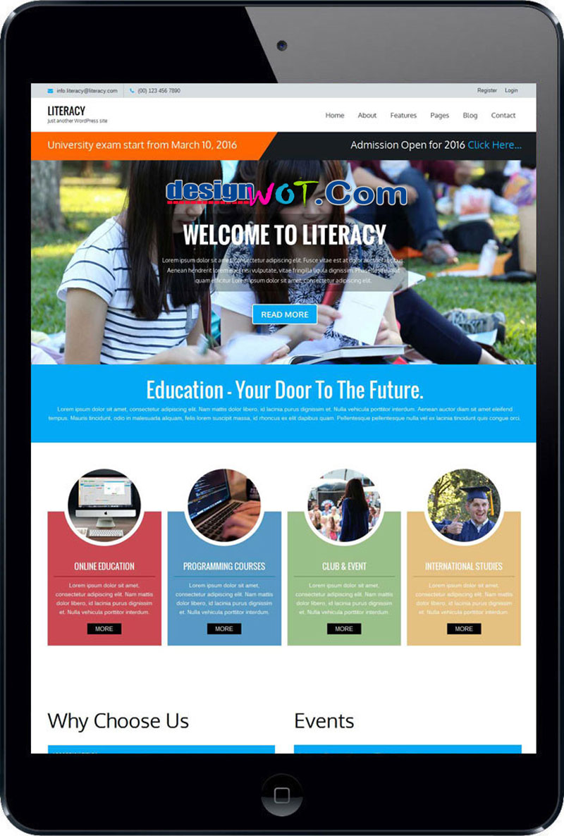 literacy free wordpress theme