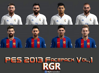 Faces: Sergio Ramos, Ronaldo, Rakitic, Pique, Messi, Jordi Alba, Carvajal, Benzema, Pes 2013