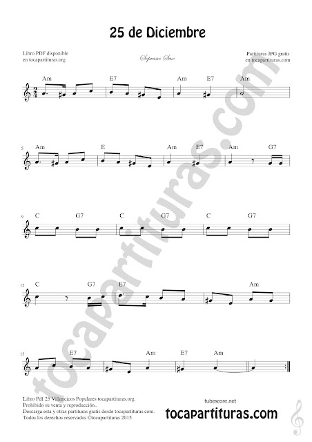 Soprano Sax Partitura de 25 de Diciembre Villancico de Navidad Sheet Music for Soprano Sax Christmas Carol Music Scores