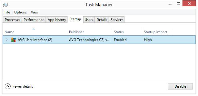 Dezactivare programe de start din Task Manager