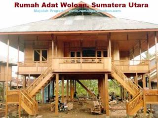 Desain Bentuk Rumah Adat Woloan dan Penjelasannya, rumah adat sumatera utara