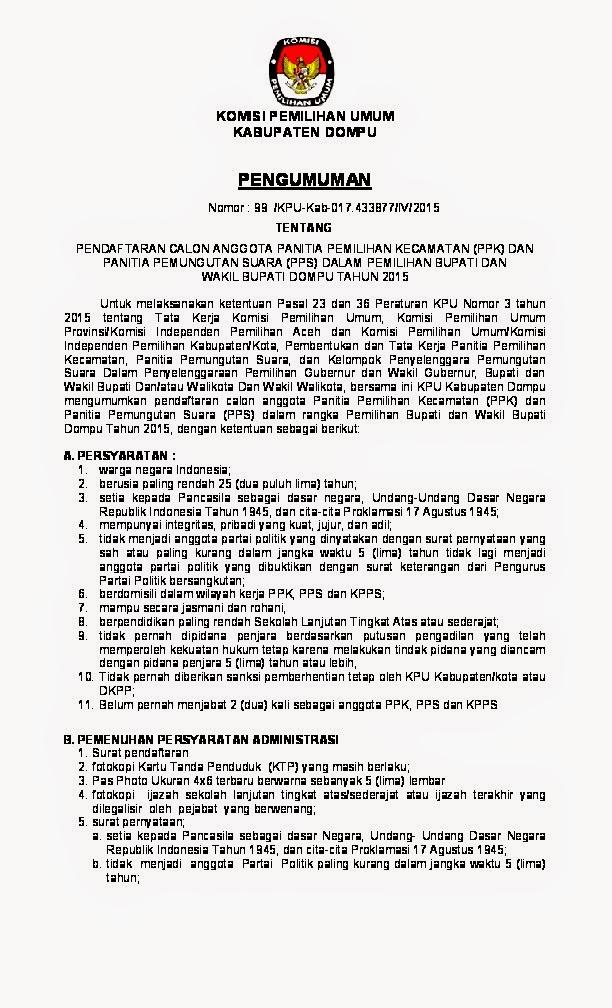 Pendaftaran Calon Anggota Ppk Dan Pps Dalam Pemilihan Bupati Dan