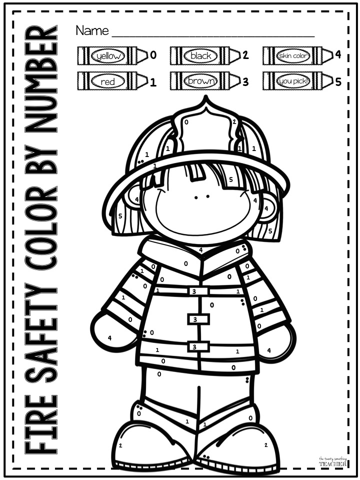 The twenty something teacher fire safety color by number for Free printable fire prevention coloring pages