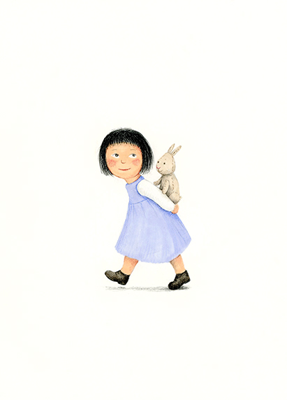 little girl playing with bunny illustration Yara Dutra