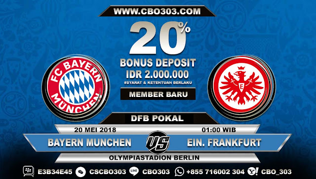 Prediksi Bola Bayern Munchen VS Eintracht Frankfurt 20 Mei 2018