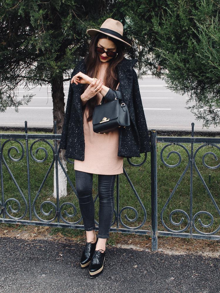 fashion blogger diyorasnotes jeans under the dress zaful bag oxfords fedora hat asos