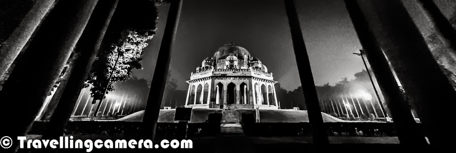 I have been to Lodhi Garden many times and mostly entered through the gate near to Lodhi Restaurant and most of times ended up walking around Bara Gumbad tomb, Sheesh Gumbad, The three domed mosque which is adjacent to Bada Gumbad, walled enclosure of the Sikander Lodi's Tomb and the water body in one of the corners of Lodhi Garden. But most of the times, I noticed a very well lit Tomb from the road which connects Sufdarjung Tomb with India Habitat Center. During last week, I was again crossing through the same road and thought of stopping. It was around 5 pm and my meeting was scheduled at 7pm in Khan Market. So this Photo Journey shares some of the photographs clicked during 2 hours around Mohammed Shah's Tomb at Lodhi Garden.The tomb of Mohammed Shah is one of the the earliest tombs in the Lodhi garden, which was built in 1444 by Ala-ud-din Alam Shah as a tribute to Mohammed Shah. Mohammed Shah was the last of the Sayyid dynasty rulers. Lodhi Garden is one of the famous picnic spots for Delhites and its one of the green belts in Delhi. Lodhi Garden is spread over 90 acres covered with  . The garden has various other monuments as well - Sikander Lodhi's Tomb, Sheesh Gumbad, Athpula and Bara Gumbad. This place is protected by Archeological Survey of India (ASI)Lodi Gardens is an important place of preservation. The tomb of Mohammed Shah is visible from the road and is the earliest structure in the gardens. The architecture Mohammed Shah's Tomb is characterized by the octagonal chamber, with stone chhajjas on the roof and guldastas on the corners.The Lodi dynasty in India arose in 14th century and Lodhi Empire was established by the Ghizlai tribe of the Afghans. They formed the last phase of the Delhi Sultanate.Some time back restoration work has happened for these monuments. In fact, these days two main projects are under progress at Lodhi Garden - One is a colorful initiative by some Artists to paint all dustbins at Lodhi Garden with some beautiful designs. The se