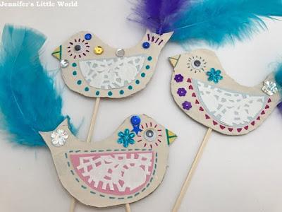 Birds on wooden sticks craft