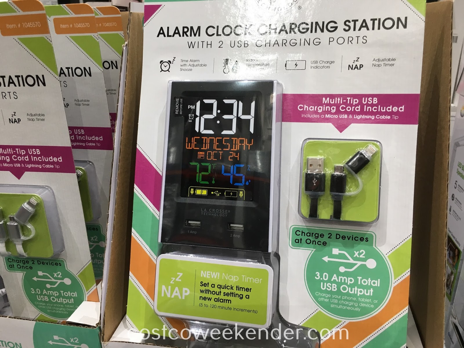 See the time, temperature, or wake up with the La Crosse Color LCD Alarm Clock (C86224)