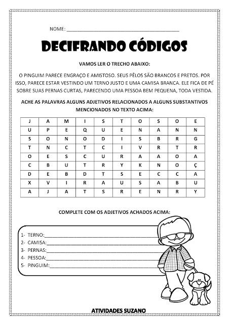 Atividades para Imprimir - Adjetivos