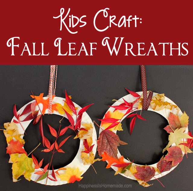 Kids craft fall leaf wreath for Leaf crafts for adults