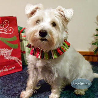 Christmas Dog Scrunchie Ruffle, Stripes, Dots, Red, Green