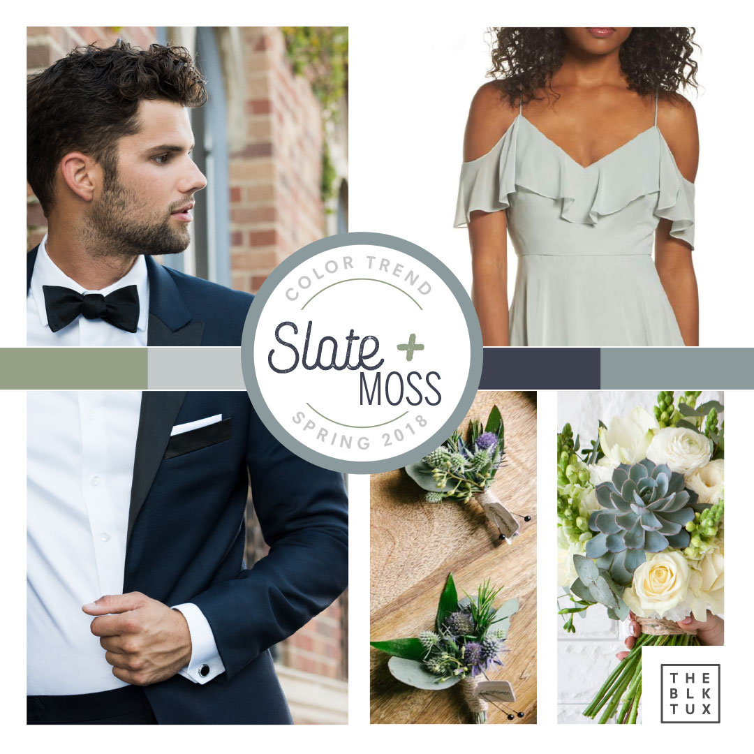 Slate and Moss Spring Wedding Colour Combination
