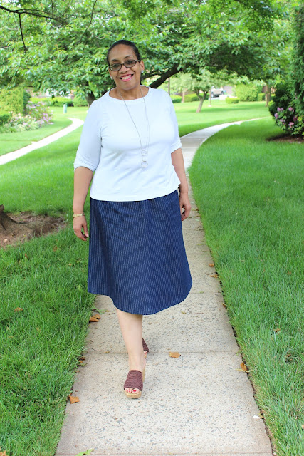 7dc4dc915a3de4 The second part of this Me Made outfit is my TNT 4 gore elastic waist skirt  made in denim. I had a yard and a 1 2 of the pinstripe denim left in ...