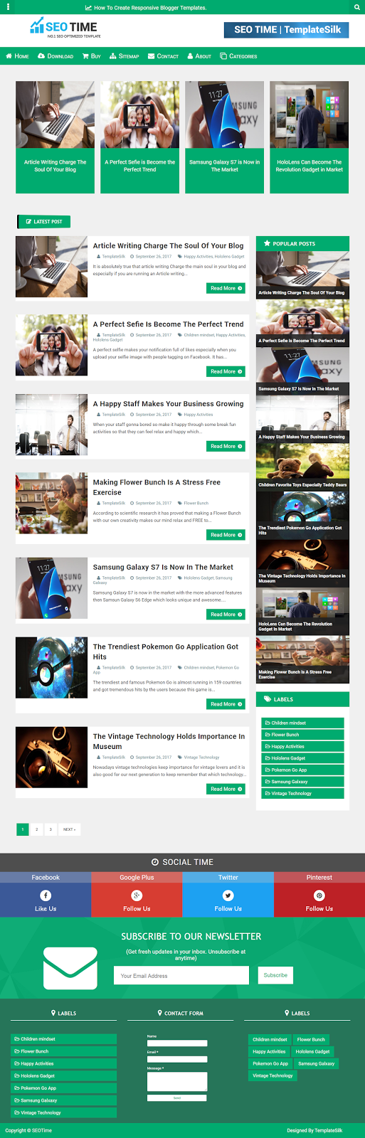SEO Time Responsive Blogger Theme