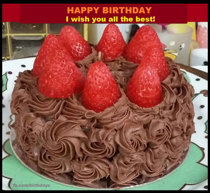 Strawberry cake picture, birthday card
