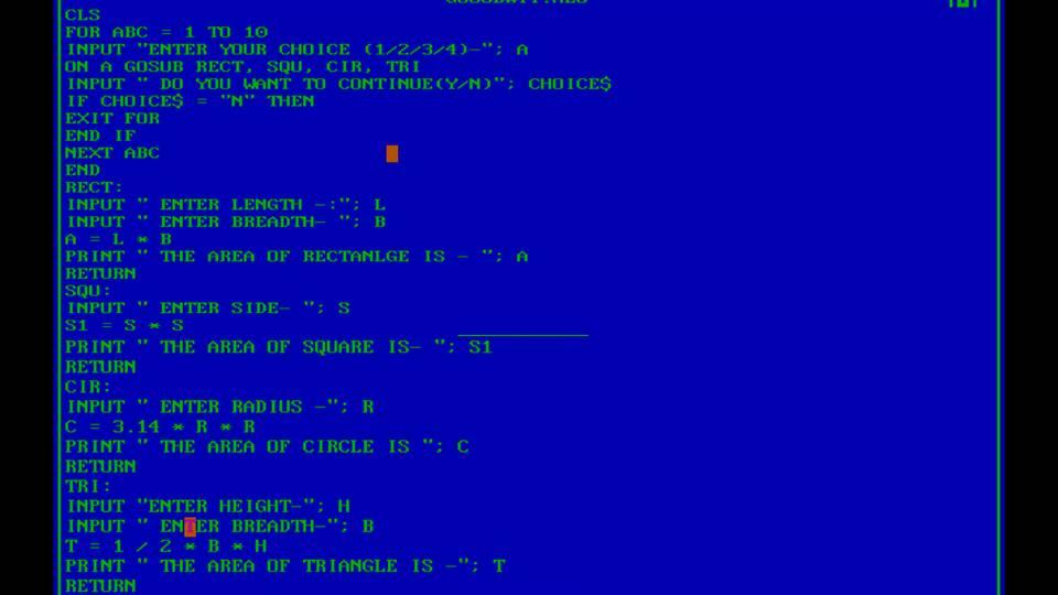 Computer Knowledge & Tips: QBASIC MULTIPLE CHOICE & SUB