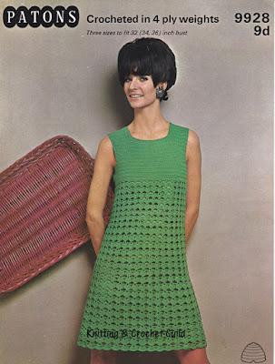 1960s vintage crochet pattern; sleeveless green dress