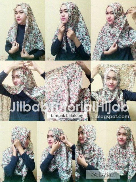 tutorial hijab segi empat terbaru modern menutup dada 2016