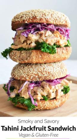 Vegan Smoky Tahini Jackfruit Sandwich