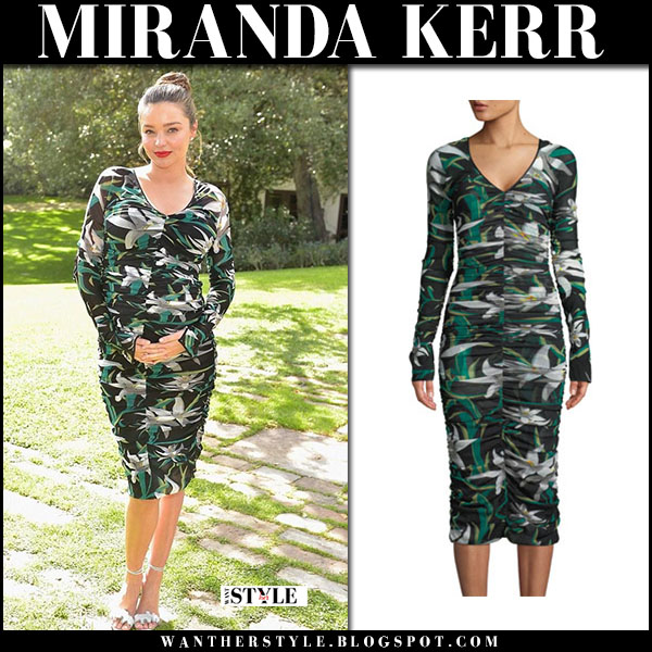 Miranda Kerr in green floral print midi dress diane von furstenberg party fashion baby bump march 1