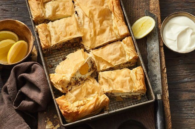 Heat oil in a large frying pan over medium Turkish lamb, ricotta and egg filo pie recipe