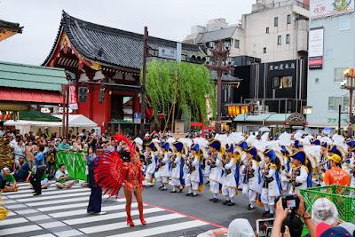 Asakusa Samba Carnival parade in front of Sensoji Temple's Kaminarimon Gate, Tokyo, 2016.