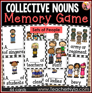 Collective Nouns Persons Memory Game Flash Cards