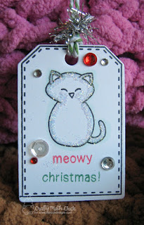 Snow Kitty tag by Crafty Math Chick | Flaky Friends stamp set, Tag Sampler Stamp Set, Tags Times Two die set, Newton's Christmas Mischief stamp set by Newton's Nook Designs
