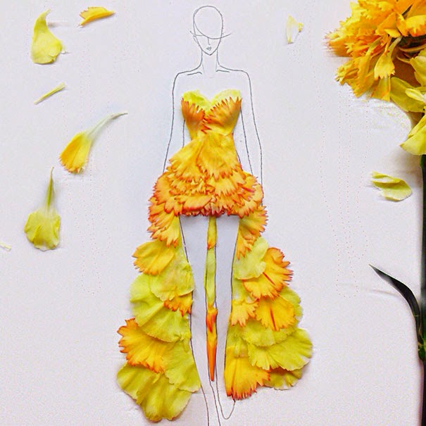 Creative Ideas Artist Turns Real Flower Petals Into Fashion Design