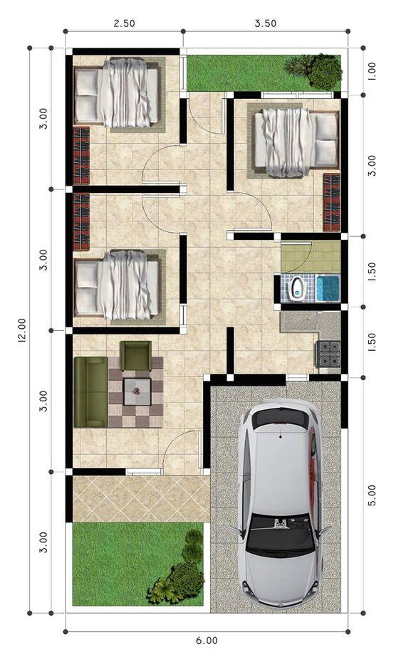 Koleksi Denah Rumah Minimalis Ukuran 6x12 meter Arsitur Media Desain