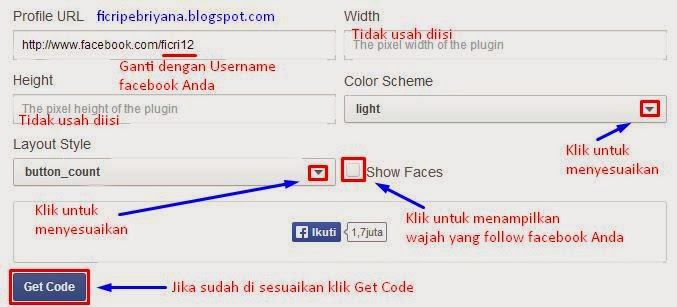 Cara Memasang Follow Button Facebook Pada Blog