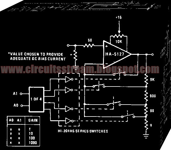 Simple Programmable Amplifier Circuit Diagram