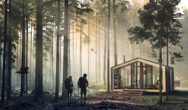 3D Визуализация деревянной хижины в лесу | Блог Archirost.com