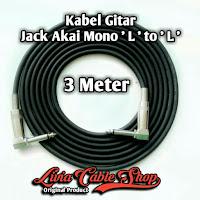 Kabel gitar 3 meter jack akai mono ' L ' to akai mono ' L '