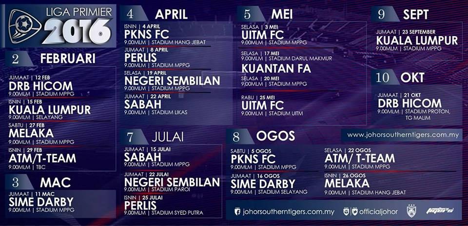 Jadual Perlawanan JDT II Liga Premier 2016