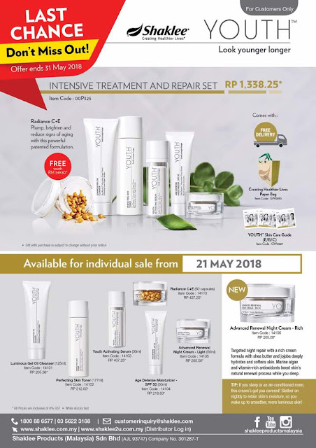 promosi shaklee, promosi may 2018 shaklee, promosi coqtrol, promosi vitamin c, promosi youth skincare, Youth dijual loose May 2018, testimoni youth skincare shaklee