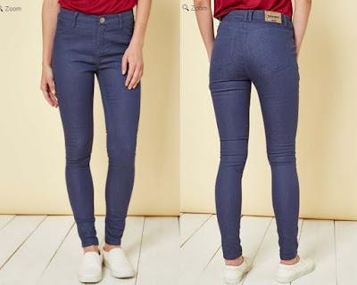 Pantalon vaquero slim azul para mujer en oferta