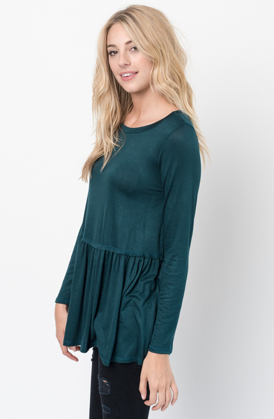 Buy Now Ranger green Ruffled Long Sleeve Tunic Online $34 -@caralase.com