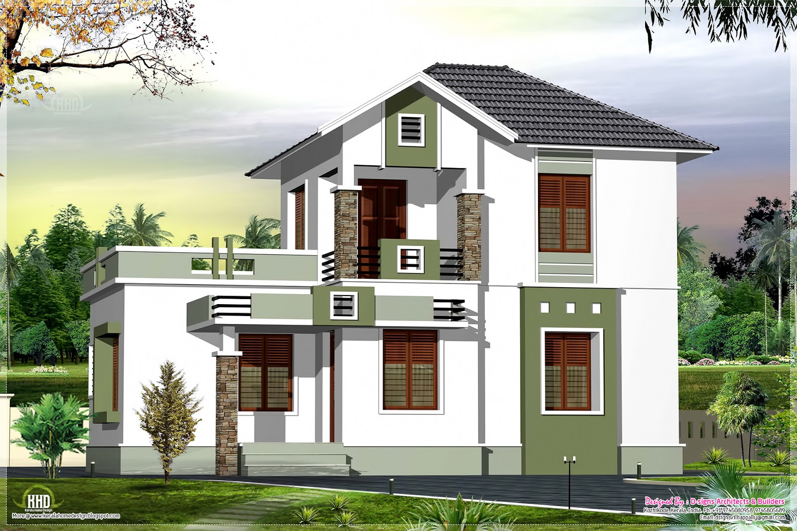 Small double floor home design in 1200 kerala for Small two floor house design