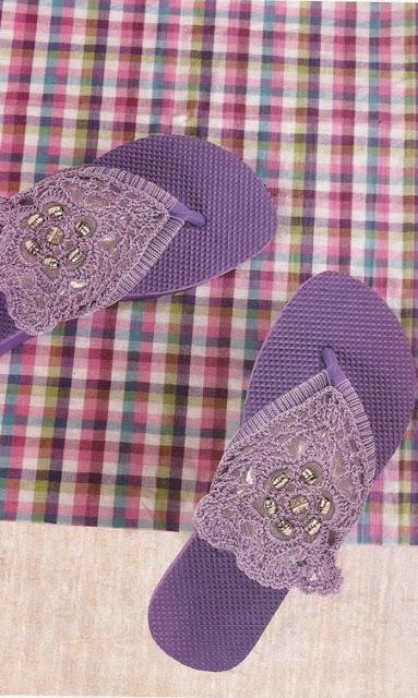 Sandalias tres puntadas a Crochet
