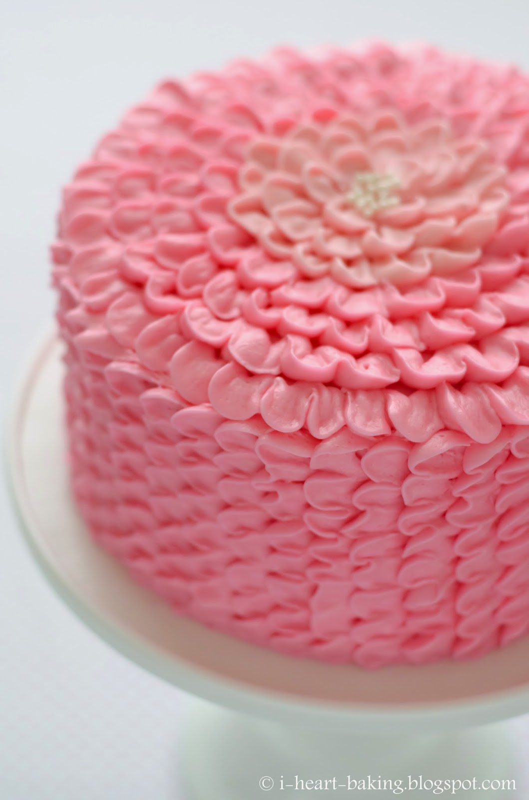 I Heart Baking Pink Ruffle Flower Chocolate Mousse Layer Cake For