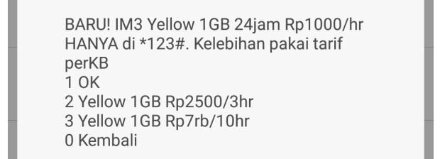 Cara Daftar Paket Yellow Indosat Via Kode Dial Terbaru 2019 3